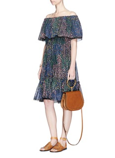 Chloé Firework print ruffle off-shoulder dress