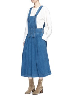Chloé Ruched denim pinafore dress