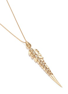Stephen Webster Diamond 18k yellow gold feather pendant necklace