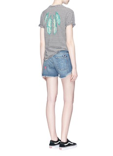 Sandrine Rose 'The Vintage Crew' feather embroidered stripe T-shirt