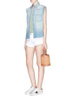 Sandrine Rose Tribal embroidered chambray sleeveless shirt