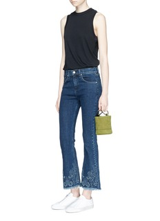 rag & bone/JEAN Floral embroidery cropped flared jeans