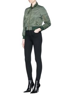 BalenciagaScarf collar padded cropped bomber jacket