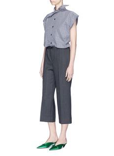 Balenciaga'Rockabilly' virgin wool herringbone cropped pants
