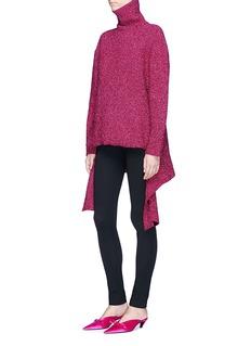 Balenciaga Drape hem metallic knit turtleneck sweater