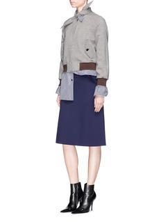 Balenciaga Scarf collar check plaid cropped Harrington jacket