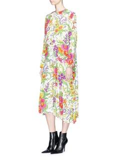BalenciagaFloral print leopard jacquard dress
