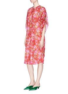 Balenciaga Drawstring collar floral print pleated gospel dress