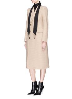 Balenciaga'Hourglass' houndstooth virgin wool blend long coat