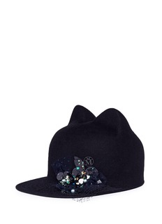 Maison Michel 'Jamie' embellished rabbit furfelt cat ear cap