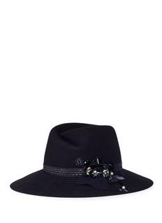 Maison Michel 'Virginie' embellished rabbit furfelt fedora hat