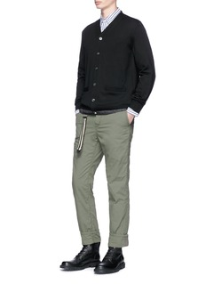 Sacai Ribbon trim belt hopsack pants