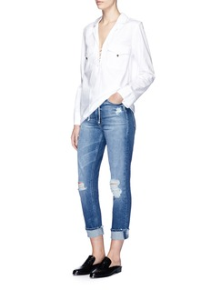 Equipment 'Kiley' lace-up distressed denim shirt