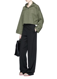 T By Alexander Wang Cropped hooded cotton jacket