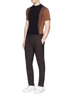 Neil BarrettElastic waist pleated wool pants