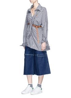 Ground Zero Stripe asymmetric panel Oxford shirt