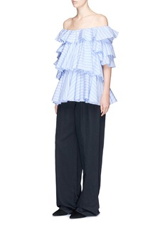 Tome Ruffle stripe poplin off-shoulder blouse