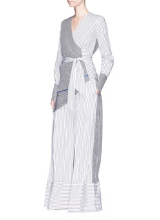 Tome Stripe poplin pleated wide leg pants