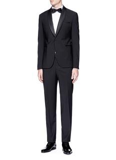 Lardini Diamond jacquard bib tuxedo shirt