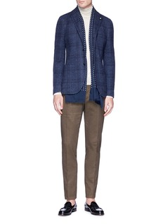 Lardini Windowpane check cotton-wool soft blazer