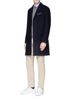 Lardini Cable knit jacquard twill coat