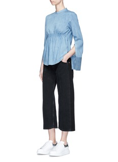 Neil Barrett Elastic waist denim long sleeve top