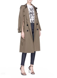 Neil Barrett Convertible sleeve satin trench coat