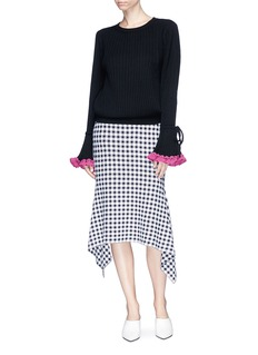 Johanna Ho x Lane Crawford Crochet bell cuff pleated sweater