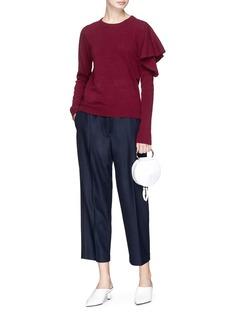 Johanna Ho Ruffle shoulder cashmere-Merino wool sweater