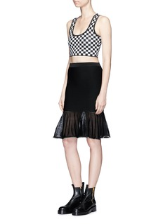 Alexander Wang  Ball chain trim checkerboard knit cropped top