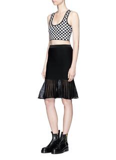 Alexander Wang Ball chain trim checkerboard knit cropped top