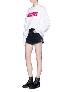 Alexander Wang 'STRICT' velvet flock print hoodie