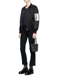 Alexander Wang  Leather patch piercing mesh bomber jacket
