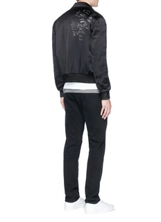 Saint Laurent Poem print padded satin bomber jacket