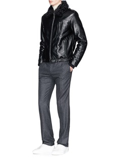 Saint Laurent Shearling collar padded lambskin leather jacket