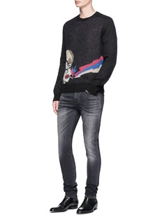 Saint Laurent Metallic graphic jacquard sweater