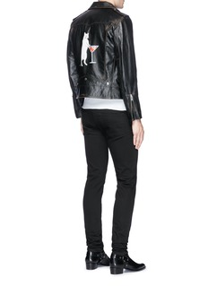 Saint Laurent Cat martini print calfskin leather biker jacket
