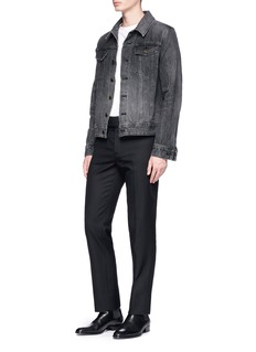 Saint Laurent Front belt wool gabardine pants