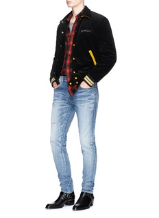Saint Laurent 'Je T'aime' embroidered corduroy coach jacket