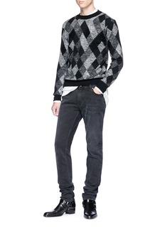 SAINT LAURENT Argyle jacquard mohair blend sweater