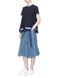 SACAI拼接设计仿包裹式百褶牛仔裙