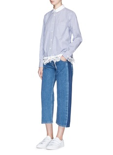 Sacai Lace trim drawstring stripe shirt