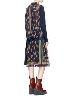 SACAI 花卉印花百褶拼接羊毛针织外套