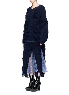 Sacai Lace trim fringed cable knit skirt