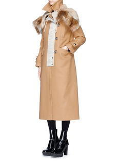 Sacai Contrast hood wool melton coat