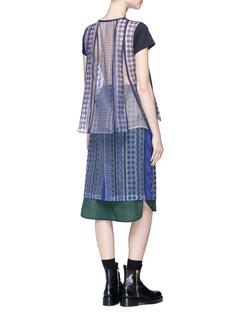 SACAI 民族风刺绣网纱蕾丝拼接混亚麻T恤
