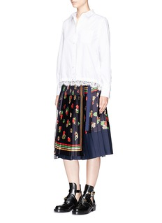 Sacai Floral print pleated patchwork wrap skirt