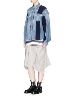 SacaiRib knit panel denim shirt