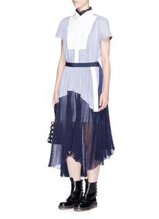 SacaiPiqué bib stripe pleated shirting dress