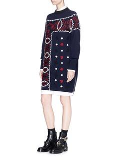 SacaiBandana embroidered wool knit dress